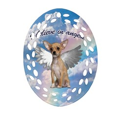 Angel Chihuahua Oval Filigree Ornament (two Sides) by Valentinaart
