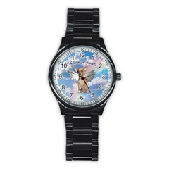 Angel Chihuahua Stainless Steel Round Watch by Valentinaart