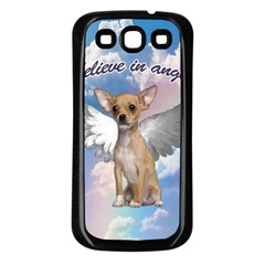 Angel Chihuahua Samsung Galaxy S3 Back Case (black) by Valentinaart