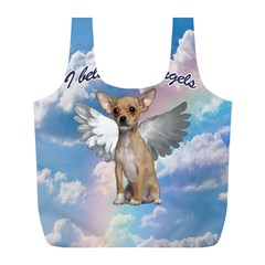 Angel Chihuahua Full Print Recycle Bags (l)  by Valentinaart