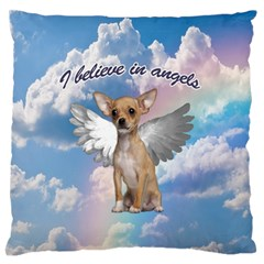 Angel Chihuahua Large Flano Cushion Case (one Side) by Valentinaart