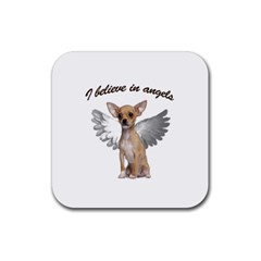 Angel Chihuahua Rubber Coaster (square)  by Valentinaart