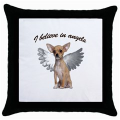 Angel Chihuahua Throw Pillow Case (black) by Valentinaart