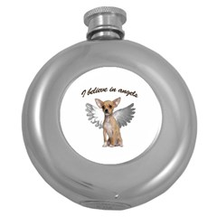 Angel Chihuahua Round Hip Flask (5 Oz) by Valentinaart