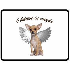 Angel Chihuahua Fleece Blanket (large)  by Valentinaart