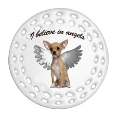 Angel Chihuahua Ornament (round Filigree) by Valentinaart