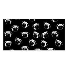 Pug Dog Pattern Satin Shawl by Valentinaart