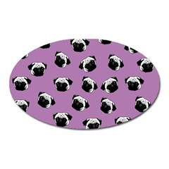 Pug Dog Pattern Oval Magnet by Valentinaart