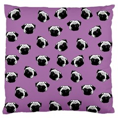 Pug Dog Pattern Large Flano Cushion Case (two Sides) by Valentinaart