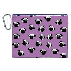 Pug Dog Pattern Canvas Cosmetic Bag (xxl) by Valentinaart
