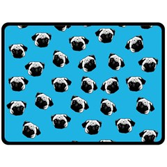 Pug Dog Pattern Double Sided Fleece Blanket (large)  by Valentinaart