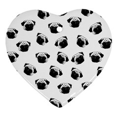 Pug Dog Pattern Heart Ornament (two Sides) by Valentinaart