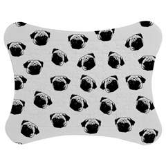 Pug Dog Pattern Jigsaw Puzzle Photo Stand (bow) by Valentinaart