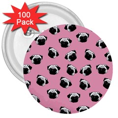 Pug Dog Pattern 3  Buttons (100 Pack)