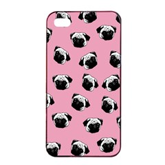 Pug Dog Pattern Apple Iphone 4/4s Seamless Case (black) by Valentinaart