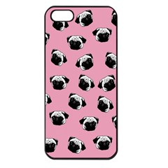 Pug Dog Pattern Apple Iphone 5 Seamless Case (black) by Valentinaart