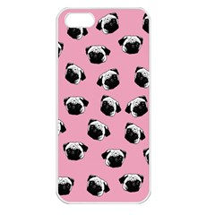 Pug Dog Pattern Apple Iphone 5 Seamless Case (white) by Valentinaart