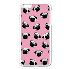 Pug Dog Pattern Apple Iphone 6 Plus/6s Plus Enamel White Case by Valentinaart