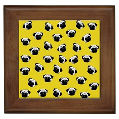 Pug Dog Pattern Framed Tiles by Valentinaart