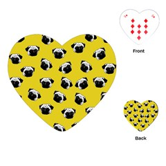 Pug Dog Pattern Playing Cards (heart)  by Valentinaart