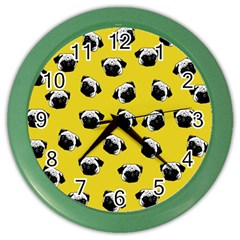Pug Dog Pattern Color Wall Clocks by Valentinaart