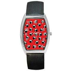 Pug Dog Pattern Barrel Style Metal Watch by Valentinaart