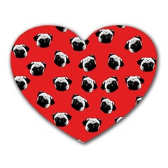 Pug Dog Pattern Heart Mousepads by Valentinaart