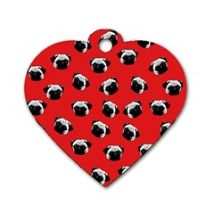 Pug Dog Pattern Dog Tag Heart (one Side) by Valentinaart