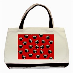 Pug Dog Pattern Basic Tote Bag (two Sides) by Valentinaart