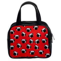 Pug Dog Pattern Classic Handbags (2 Sides) by Valentinaart
