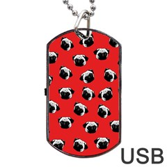 Pug Dog Pattern Dog Tag Usb Flash (two Sides) by Valentinaart