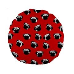Pug Dog Pattern Standard 15  Premium Round Cushions by Valentinaart