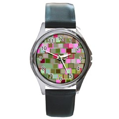 Color Square Tiles Random Effect Round Metal Watch