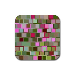 Color Square Tiles Random Effect Rubber Square Coaster (4 Pack)  by Nexatart
