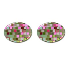 Color Square Tiles Random Effect Cufflinks (oval) by Nexatart