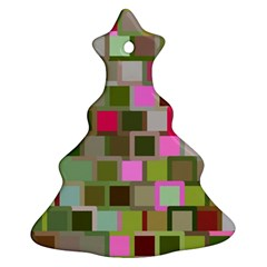 Color Square Tiles Random Effect Ornament (christmas Tree)  by Nexatart