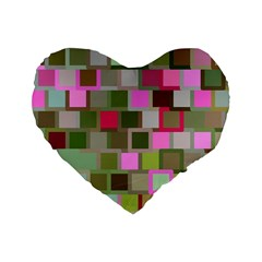 Color Square Tiles Random Effect Standard 16  Premium Heart Shape Cushions