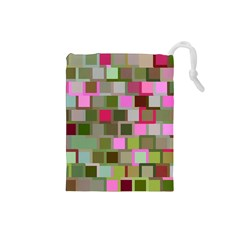 Color Square Tiles Random Effect Drawstring Pouches (small)