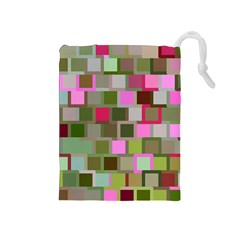 Color Square Tiles Random Effect Drawstring Pouches (medium)