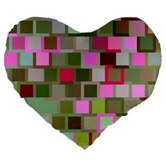 Color Square Tiles Random Effect Large 19  Premium Flano Heart Shape Cushions by Nexatart