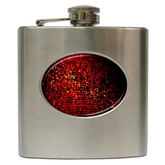 Red Particles Background Hip Flask (6 Oz) by Nexatart