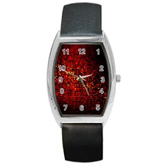 Red Particles Background Barrel Style Metal Watch