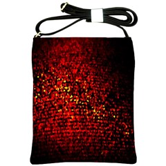 Red Particles Background Shoulder Sling Bags by Nexatart