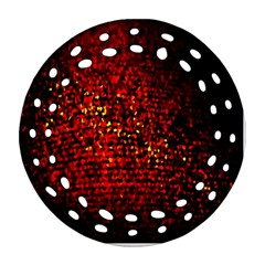 Red Particles Background Ornament (round Filigree) by Nexatart