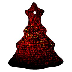 Red Particles Background Christmas Tree Ornament (two Sides)