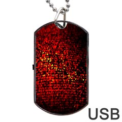 Red Particles Background Dog Tag Usb Flash (one Side) by Nexatart
