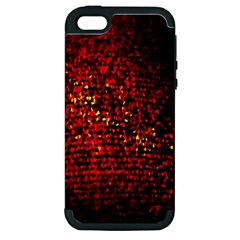Red Particles Background Apple Iphone 5 Hardshell Case (pc+silicone) by Nexatart