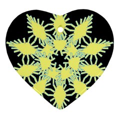 Yellow Snowflake Icon Graphic On Black Background Ornament (heart)