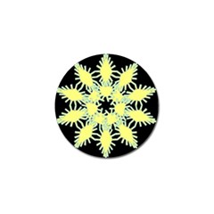 Yellow Snowflake Icon Graphic On Black Background Golf Ball Marker (10 Pack) by Nexatart