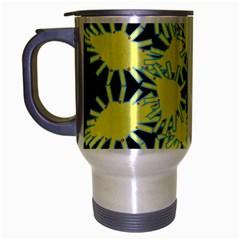 Yellow Snowflake Icon Graphic On Black Background Travel Mug (silver Gray) by Nexatart